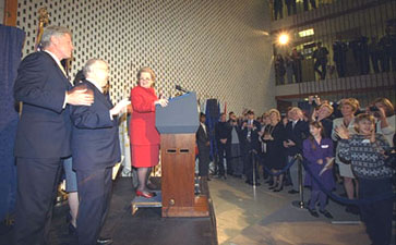 Secretary of State Madeleine Albright, Ambassador Hermelin, and President Clinton address the U.S. Embassy community.