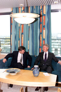 President Clinton meets with Norwegian Prime Minister Kjell Magne Bondevik at the Prime Minister's Office in Oslo.