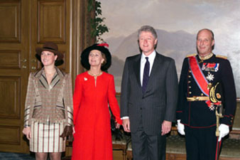 President Clinton with the royal family prior to an official lunch hosted by Norwegian King Harald V at the Royal Palace.