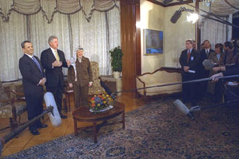 President Clinton, Prime Minister Barak and Chairman Arafat speak to the press before their meeting.