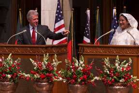 President Clinton and Prime Minister Sheikh Hasina make a joint statement to the press following their bilateral meeting, Prime Minister's office, Bangladesh.