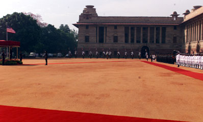 Courtyard at Rashtrapati Bhavan, site of arrival ceremony for President Clinton, New Delhi.