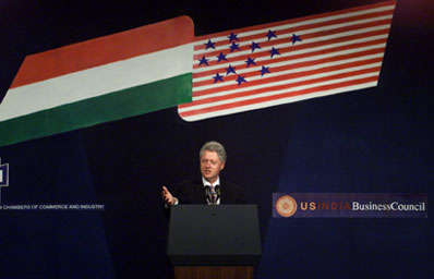 President Clinton makes remarks to the business reception at the Mumbai Stock Exchange.