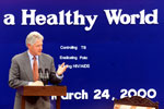 President Clinton makes remarks at the vaccination event at Mahavir Trust Hospital, Hyderabad, India.